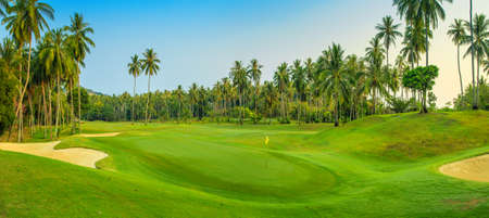 golf field: Panorama of golf course on Koh Samui Stock Photo