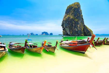 Few longboats at Railay beach, Krabi, Thailand