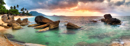 beach panorama: Panorama of sunrise on Lamai beach, Samui Stock Photo