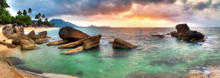 panoramic beach: Panorama of sunrise on Lamai beach, Samui Stock Photo