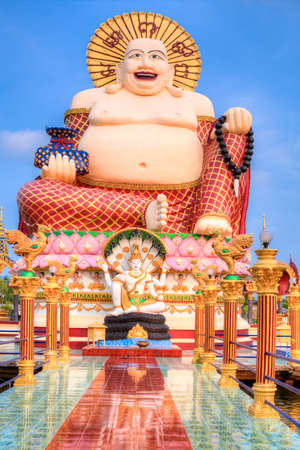 smiling buddha: Smiling Buddha of wealth statue on Koh Samui Stock Photo