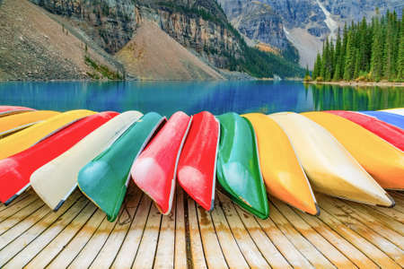 louise: Kayaks on Moraine lake in Banff National Park Stock Photo