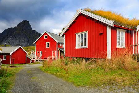 lofoten: Red rorbuers at Reine, Lofoten islands, Norway Stock Photo