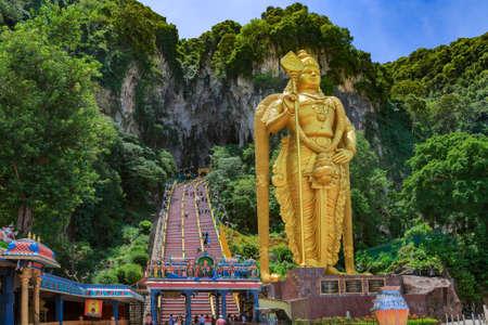 the place of interest: The Batu Caves Lord Murugan Statue and entrance near Kuala Lumpur Malaysia.