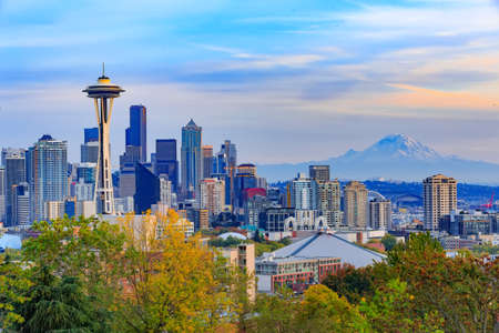 Seattle downtown and Space Needle  view, Washington, USA 스톡 콘텐츠