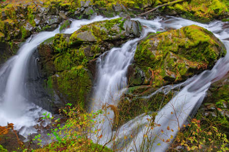 sol duc: Sol Duc waterfall in rainforest at Olympic National Park, Oregon Coast Stock Photo