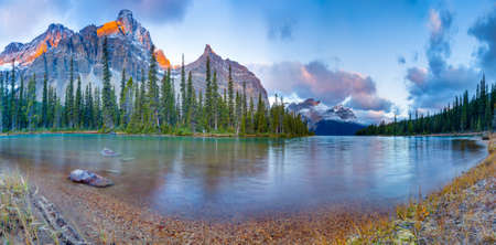 icefield: Sunrise panorama on Bow lake, Icefield road, Canada