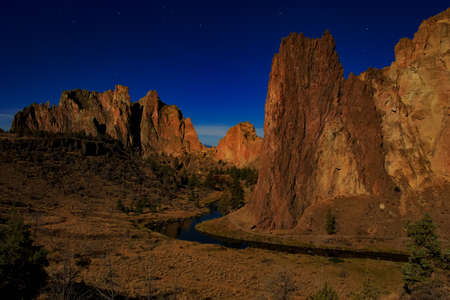 smith rock: Moonlight night at Smith Rock State Park in Oregon USA Stock Photo