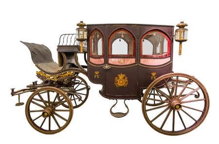 Oude historische wagen geïsoleerd op wit, Portugal Stockfoto