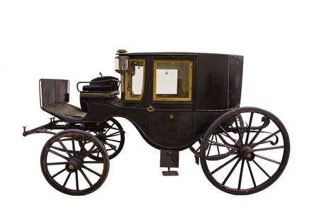 Samrt black historic carriage isolated on white