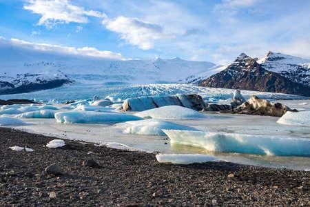 glacial: The glacial lagoon Jokulsarlon with glacier view, Iceland