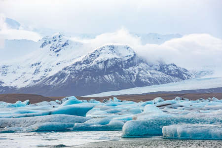 jokulsarlon: The glacial lagoon Jokulsarlon with mountains view, Iceland