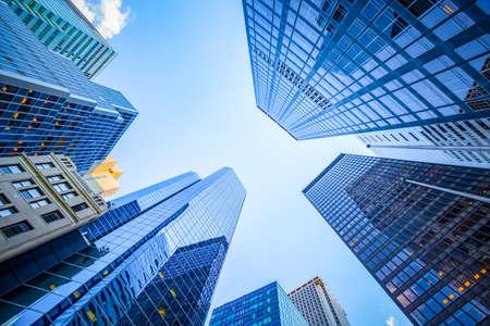 Up view in financial district, Manhattan, New York 写真素材