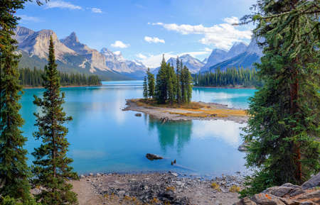 Spirit Island at the Maligne Lake, Alberta, Canada 写真素材