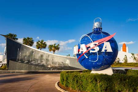 Cape Canaveral, Florida, USA - DEC, 2016: Kennedy memorial next to the Nasa globe