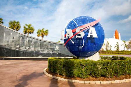 kennedy: Cape Canaveral, Florida, USA - JAN, 2017: Kennedy memorial next to the Nasa globe. United States Editorial