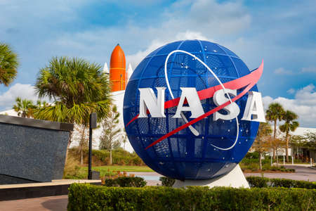 Cape Canaveral, Florida, USA - JAN, 2017: Kennedy memorial next to the Nasa globe. United States Editorial