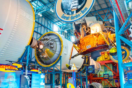 KENNEDY SPACE CENTER, FLORIDA, USA - JAN 04, 2017: Service module of the Saturn 5 rocket which is exhibited at the visitor complex of Kennedy Space Center, United States Sajtókép