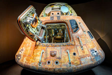 KENNEDY SPACE CENTER, FLORIDA, USA - JAN 04, 2017: The capsule of the Saturn 5 rocket which is exhibited at the visitor complex of Kennedy Space Center, United States Redakční