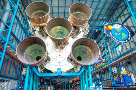 KENNEDY SPACE CENTER, FLORIDA, USA - JAN 04, 2017: The first stage engines of the Saturn 5 rocket which is exhibited at the visitor complex of Kennedy Space Center, United States 에디토리얼