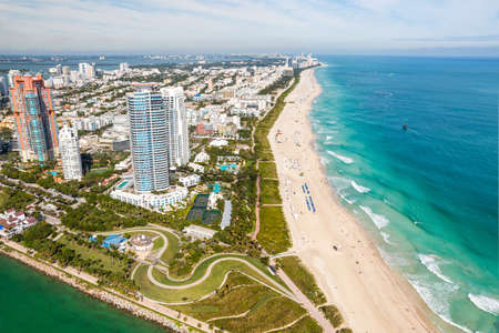 South Beach Miami Skyline Aerial View, Florida Stock Photo