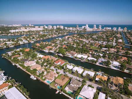 포트 로더데일 라스 Olas 아일 즈, 플로리다, 미국의 공중보기