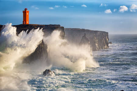 Storm waves at the west coast of Iceland Banco de Imagens