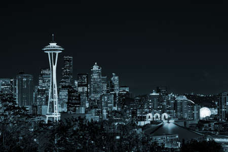 Seattle, Washington, USA - October 15, 2015: Downtown Seattle skyline with view of Mt. Rainier in the distance, Washington