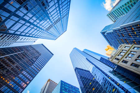 Up view in financial district, Manhattan, New York Foto de archivo