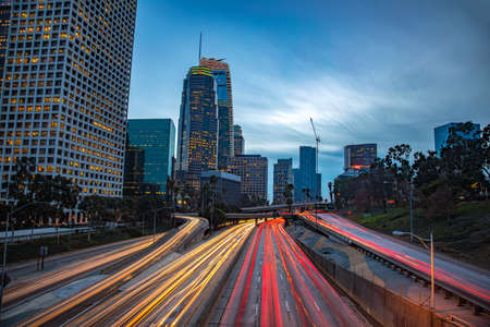 Downtown Los Angeles, California, USA skyline with trail lights 스톡 콘텐츠