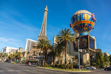 LAS VEGAS - JAN 03, 2018: Paris Las Vegas hotel and Casino sign in the shape of the Montgolfier balloon with the theme of Paris in France.