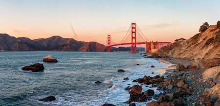 Famous Golden Gate Bridge at sunset,, San Francisco USA Stock Photo