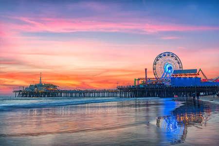 The Santa Monica Pier at sunset, Los Angeles, California.