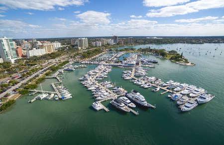 Aerial view of the Sarasota downtown and marina, Florida. Stock Photo