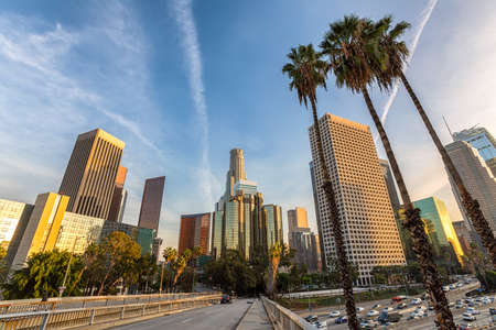 Downtown Los Angeles, skyline at sunset, California USA