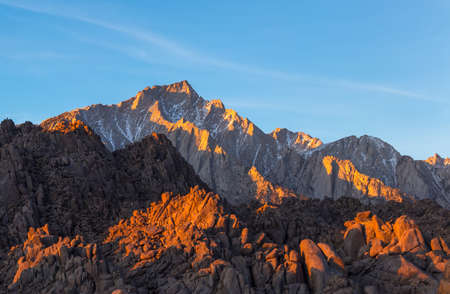 Lone Pine Peak view on sunrise at Alabama Hills, Eastern Sierra Nevada Mountains, Lone Pine, California, USA. Stock Photo