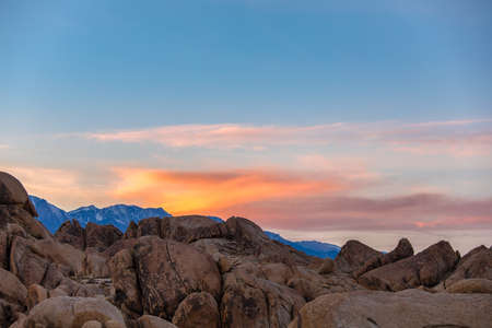 Sunset at Alabama Hills, Eastern Sierra Nevada Mountains, Lone Pine, California, USA
