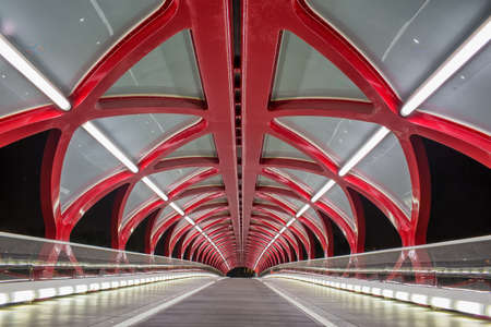 Peace Bridge, opened in March 2012, which connects the extensive Bow River Pathway on the north and south sides of the Bow River, Calgary, Canada