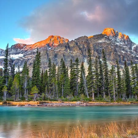 Bow lake on sunrise in Banff National Park, Canada, icefieldroad