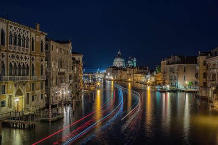 Grand Canal and Basilica Santa Maria della Salute night view, Venice, Italy. 写真素材
