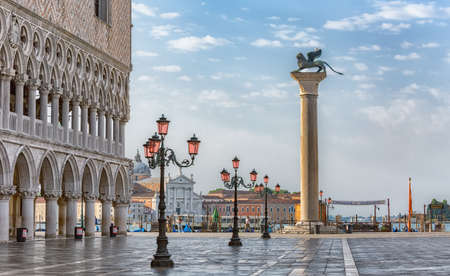 Sunrise view of piazza San Marco, Doges Palace Palazzo Ducale in Venice, Italy. Architecture and landmark of Venice. Sunrise cityscape of Venice. Stock Photo