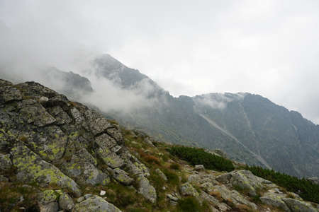 Beautiful High Tatras mountains landscape in Slovakia. Mountains with clouds