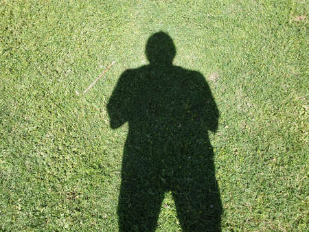 Shades of human body and Walking footsteps walk through the valley of the shadow