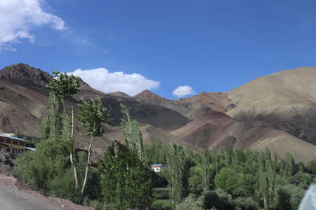 Beautiful valley of hilly area and mountains in india. Beautiful destination for tourists to travel and mountaineering on Himalayas mountain range in Asia.