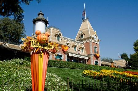 Oct 17, 2011: Anaheim,CA Disneyland park in Anaheim. Halloween decorations at the park entrance.