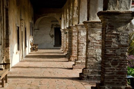 orange county: A walkway at the San Juan Capistrano Mission in Orange County,CA. Stock Photo