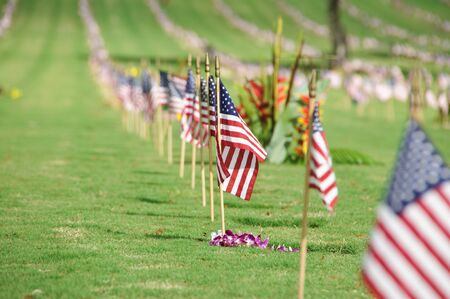 The flag of the United State of America at the Punchbowl National Cemetery on the Island of Oahu in Hawaii on Memorial Day. photo