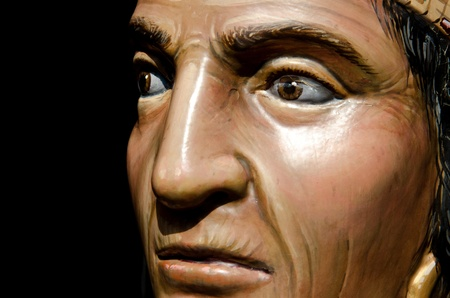 A close up of a statue of a American Indian at Disneyland in Anaheim,CA