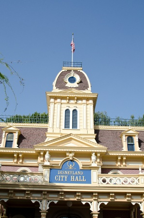 main street: City Hall at Disneyland on Main Street USA on a clear day   The City Hall building is just past the main entrance to the park