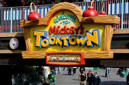 The entrance to Toontown at Disneyland in Anahiem,CA  Toontown is one of the different types of  Lands  which make up the park  Editorial
